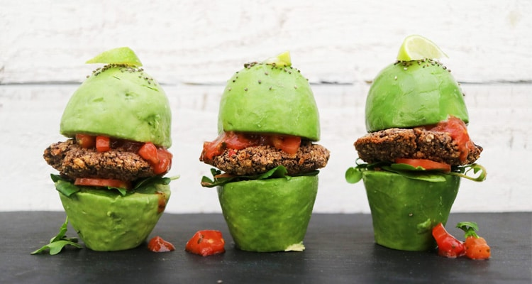 Black Bean Burgers in Avocado Bun