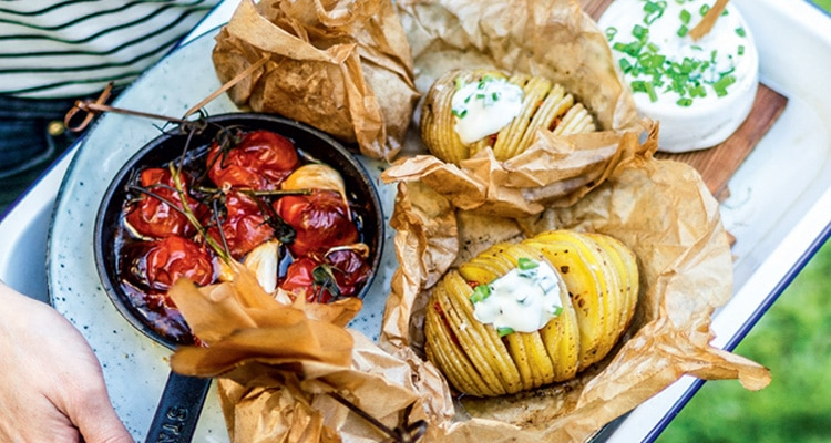 Hasselback Potatoes with Tomato Confit