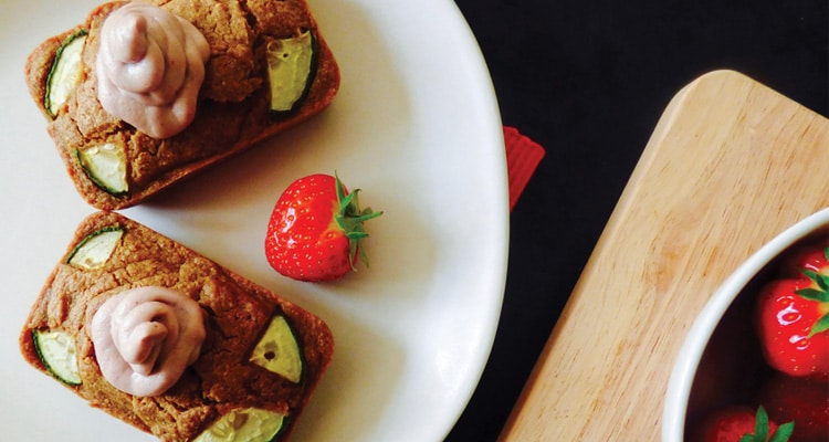 Strawberry and Cucumber Muffins with Cream