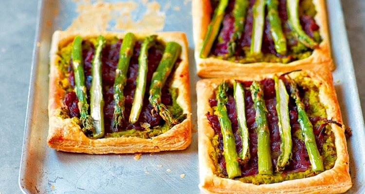 Asparagus, Pea and Red Onion Tart
