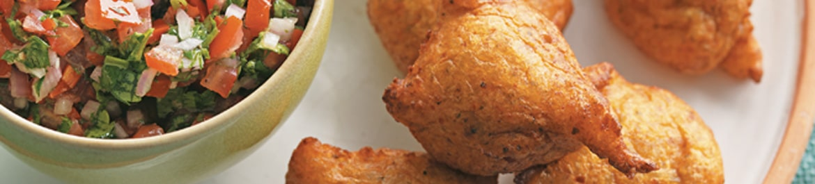 Deep-Fried Plantain Fritters with Pebre