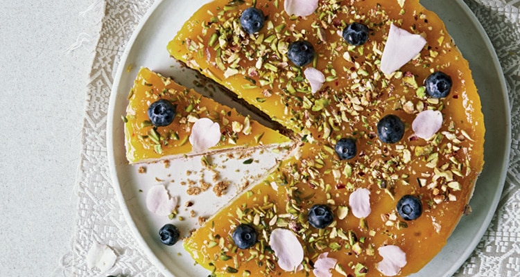 Lime and Saffron Plant Based 'Cheesecake'
