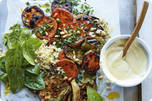 chargrilled vegetable salad with quinoa, pesto and cheesy sauce