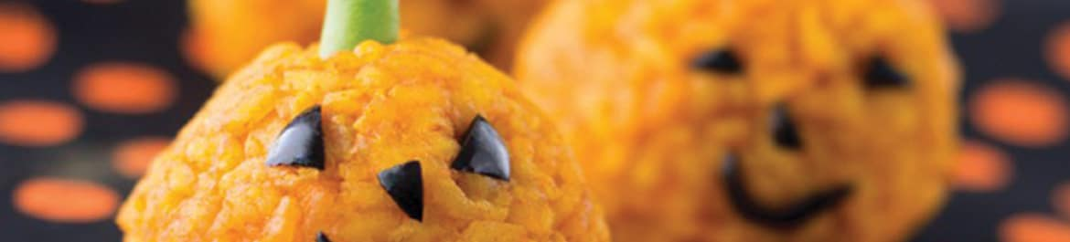Carrot Rice Ball Jack O'Lantern Bites
