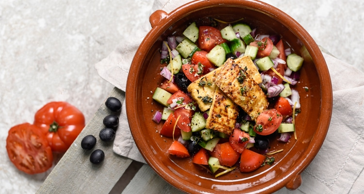 Greek Salad with Tofu Halloumi