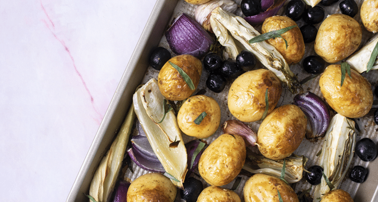 Fennel, New Potato and Black Olive Traybake