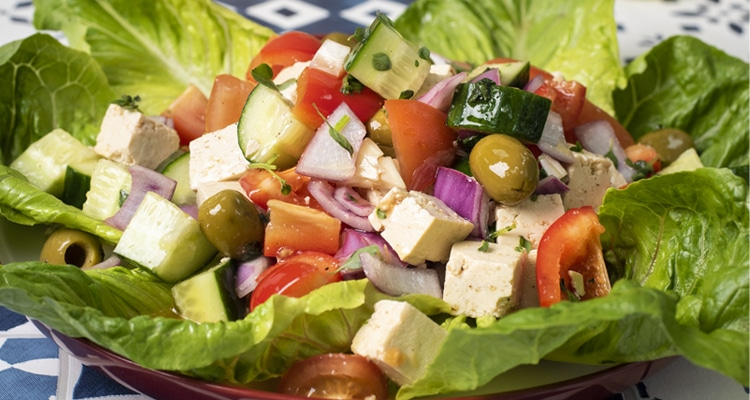 Marinated Tofu Feta Greek Salad
