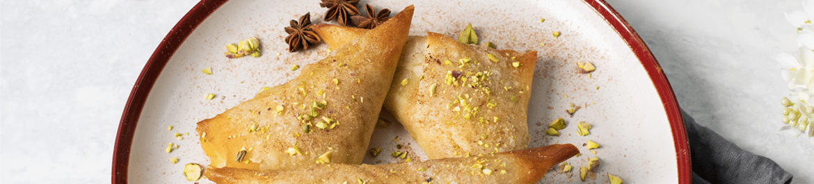 Pear, Pistachio and Cardamom Samosas