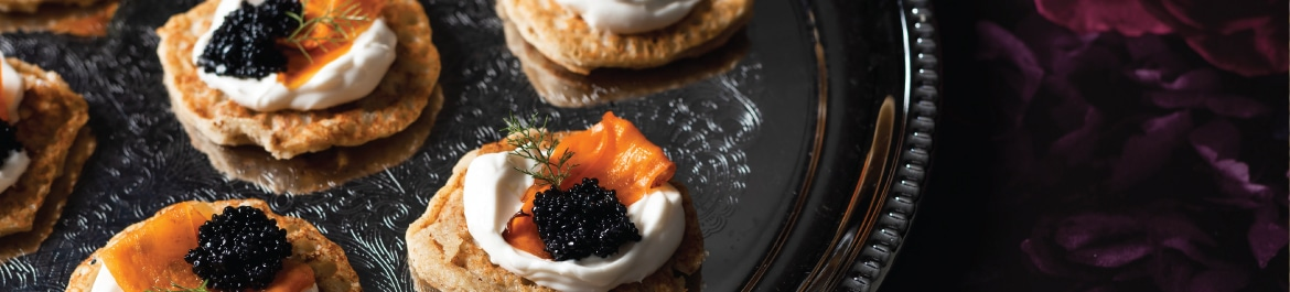 Blinis with Smoked Carrot and 'Caviar'