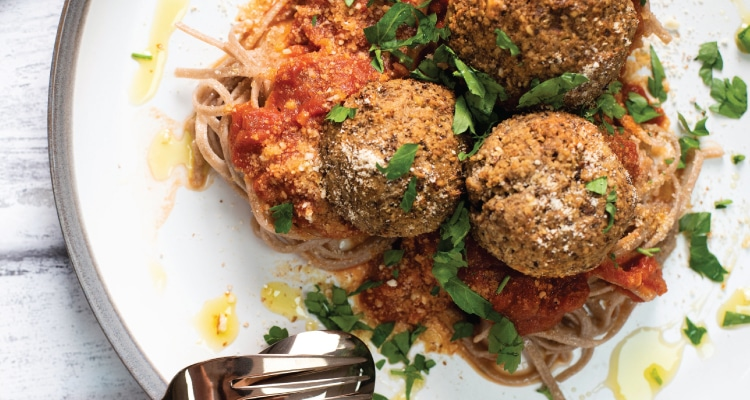 Mushroom and Walnut Meatballs with a Marinara Sauce