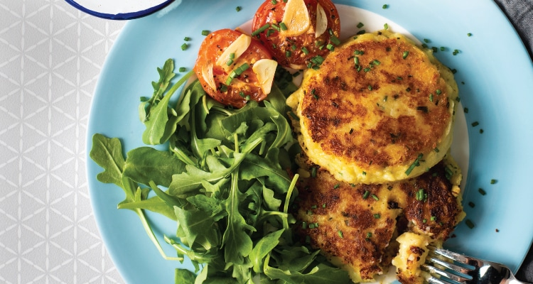 Cheese and Chive Potato Cakes with Roasted Tomato