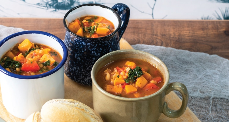 Roasted Red Pepper, Sweet Potato and Kale Soup