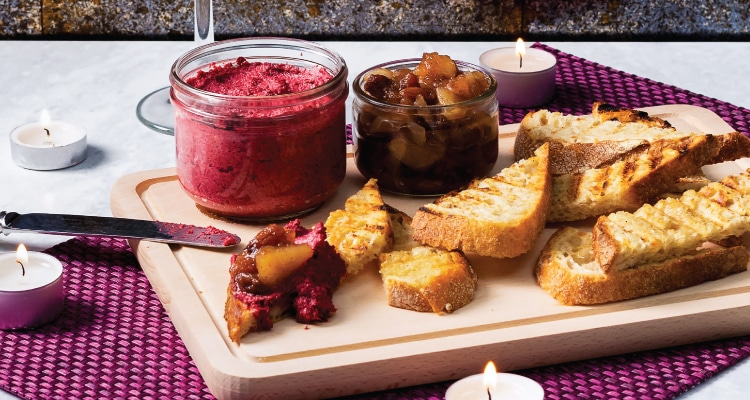 Beetroot, Walnut and Sunflower Pâté with Apple Chutney