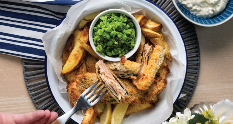 Banana Blossom 'Fish' and Chips with Tartare Sauce and Crushed Peas