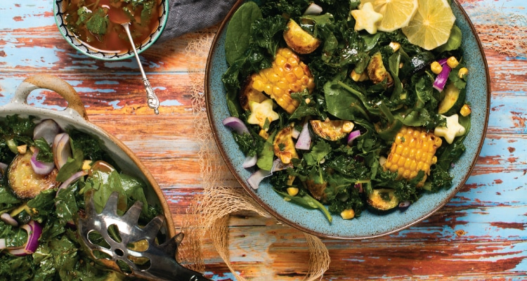 Grilled Kale and Sweetcorn Salad