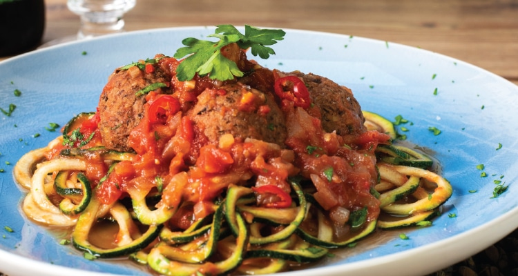 Lentil and Walnut 'Meatballs' with Courgette Spaghetti and Arrabbiata Sauce