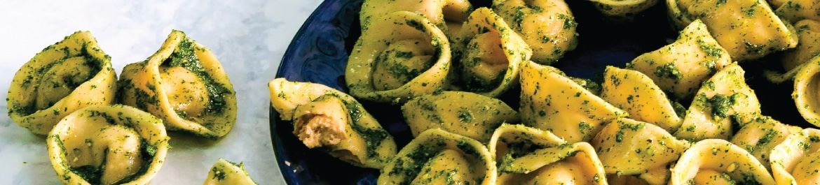 Sundried Tomato and 'Ricotta' Tortellini with Nettle Pesto