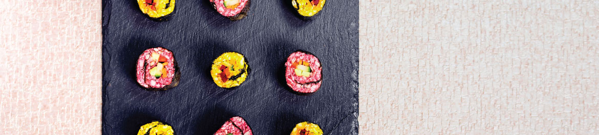 Raw Turmeric and Beetroot Sushi
