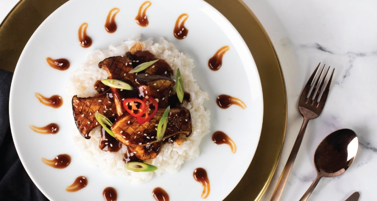 Teriyaki-Glazed King Oyster Mushrooms with Sticky Rice