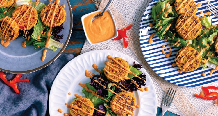 Millet and Vegetable Patties with Red Pepper Dressing