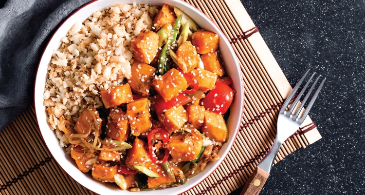 Roasted Sweet Potato Stir-Fry with Orange and Ginger Sauce