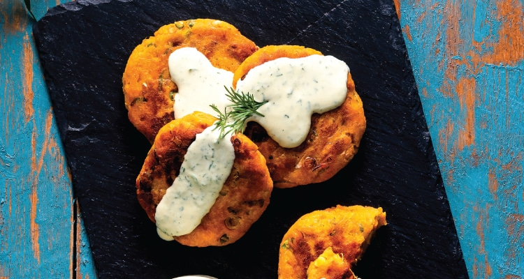 Sweet Potato and Spring Onion Cakes with Dill Dressing