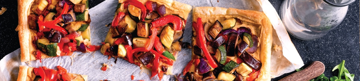 Mixed Vegetable and Houmous Tart