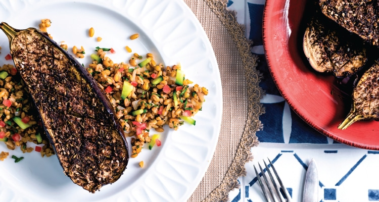 Za'atar Roasted Aubergine with Moroccan Spiced Freekeh