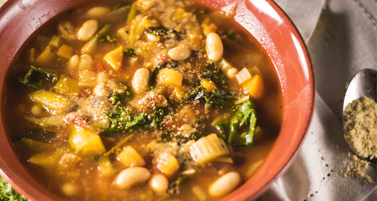 Minestrone with White Beans and Almond Parmesan (oil-free)