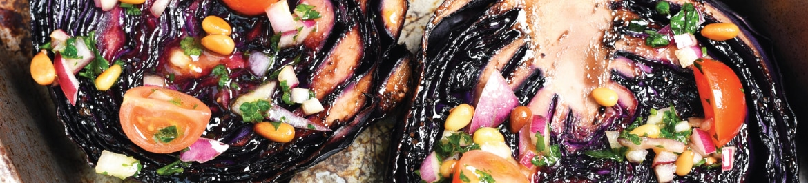 Balsamic Roasted Red Cabbage Steaks with Tomato and Pine Nut Salsa