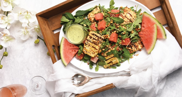 'Halloumi' and Watermelon Salad with Mint Dressing