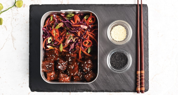 Korean BBQ Tempeh with Asian Slaw