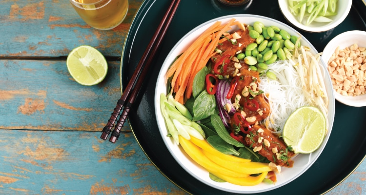 Peanut Tempeh and Mango Rice Noodle Salad