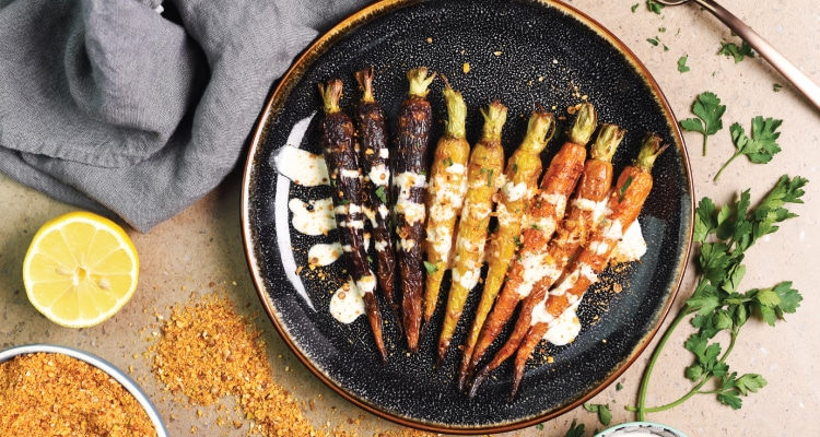 Roasted Carrots with Dukkah and Tahini Dressing