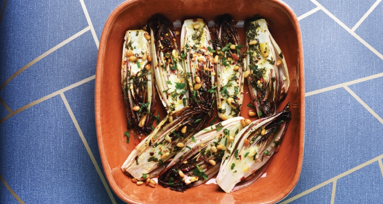 Roasted Chicory with Garlic, Lemon, Chilli and Pine Nuts