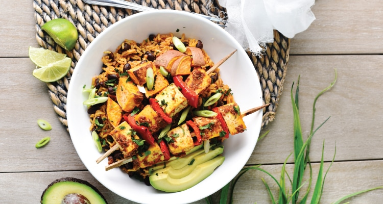 Tofu Skewers with Mexican Rice and Roasted Sweet Potato