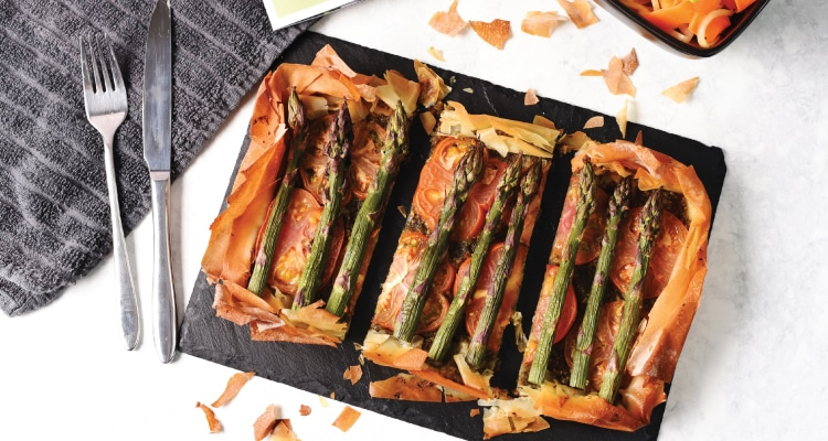 Asparagus and Pesto Filo Tart with Shaved Kohlrabi Sa