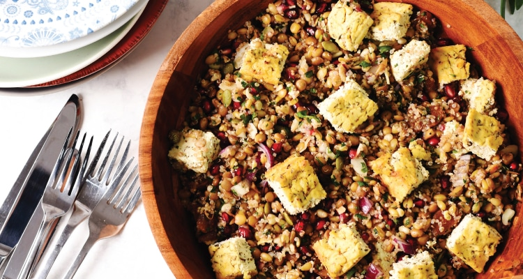 Mixed Grain Salad with Baked Feta