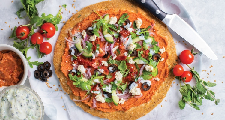 Raw Greek Salad Pizza