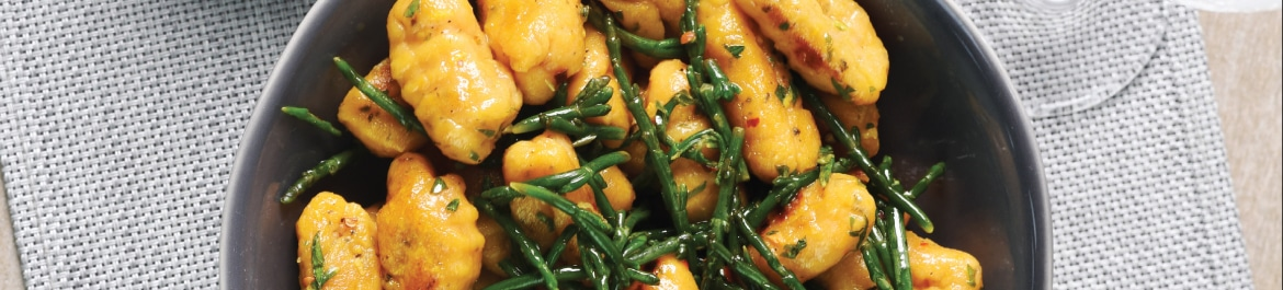 Sweet Potato Gnocchi with Samphire and Lemon, Chilli and Parsley Butter