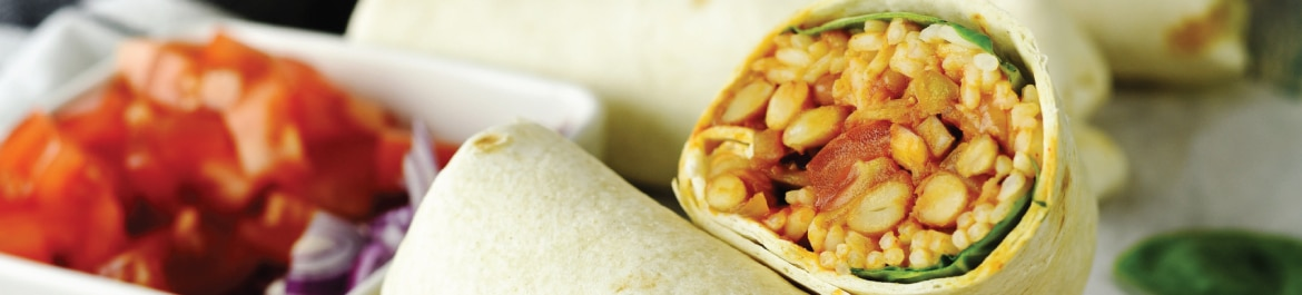 Mixed Bean Chilli and Rice Burrito