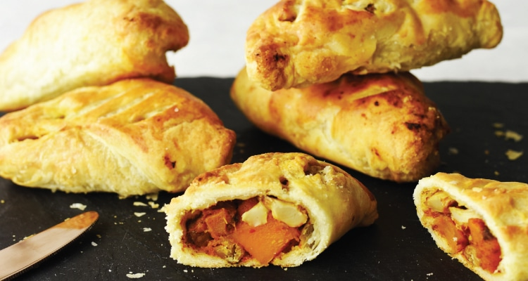 Moroccan Spiced Butternut Squash, Chickpea and Cauliflower Pasties