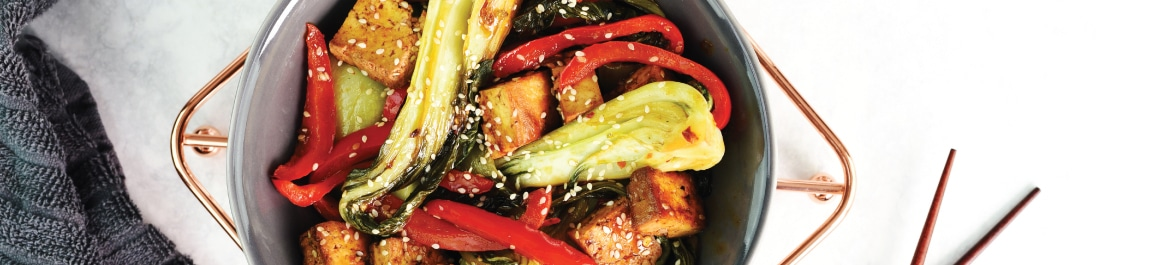 Pak Choi and Smoked Tofu in a Sesame and Soy Sauce