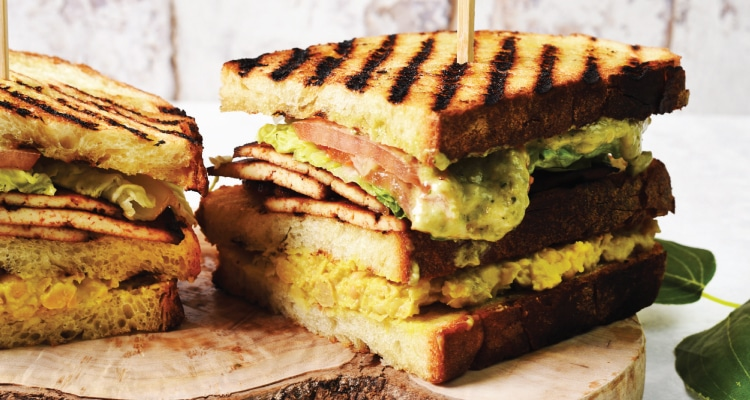 Pesto Mayo and Smoked Tofu Club Sandwich