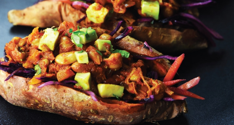BBQ Beans and Jackfruit in a Sweet Potato Jacket with Slaw