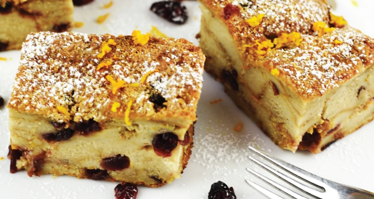 Cranberry, Orange and Cinnamon Bread Pudding