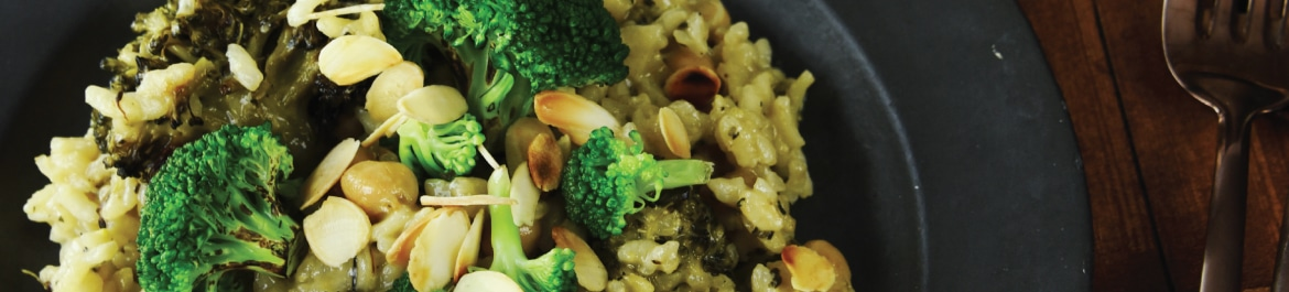 Roasted Broccoli, Chickpea and Almond Risotto