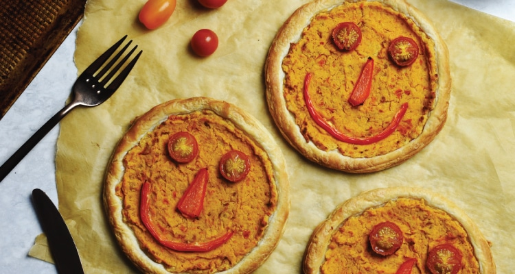 Smiley Face Tomato and Red Pepper Tarts